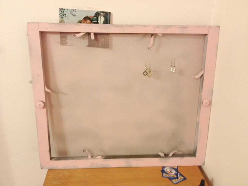 Finished window screen jewelry holder