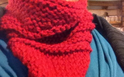 The Kerchief cowl knitted and modeled by Rachee | Say it Rah-shay