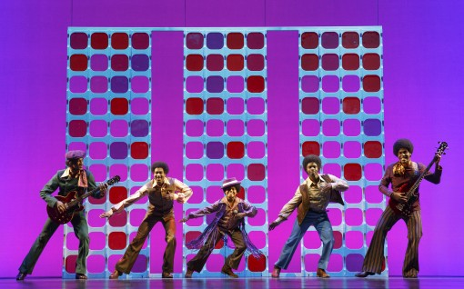Reed L Shannon as Michael Jackson (center) with the Jackson 5 MoTOWN THE MUSICAL First National Tour