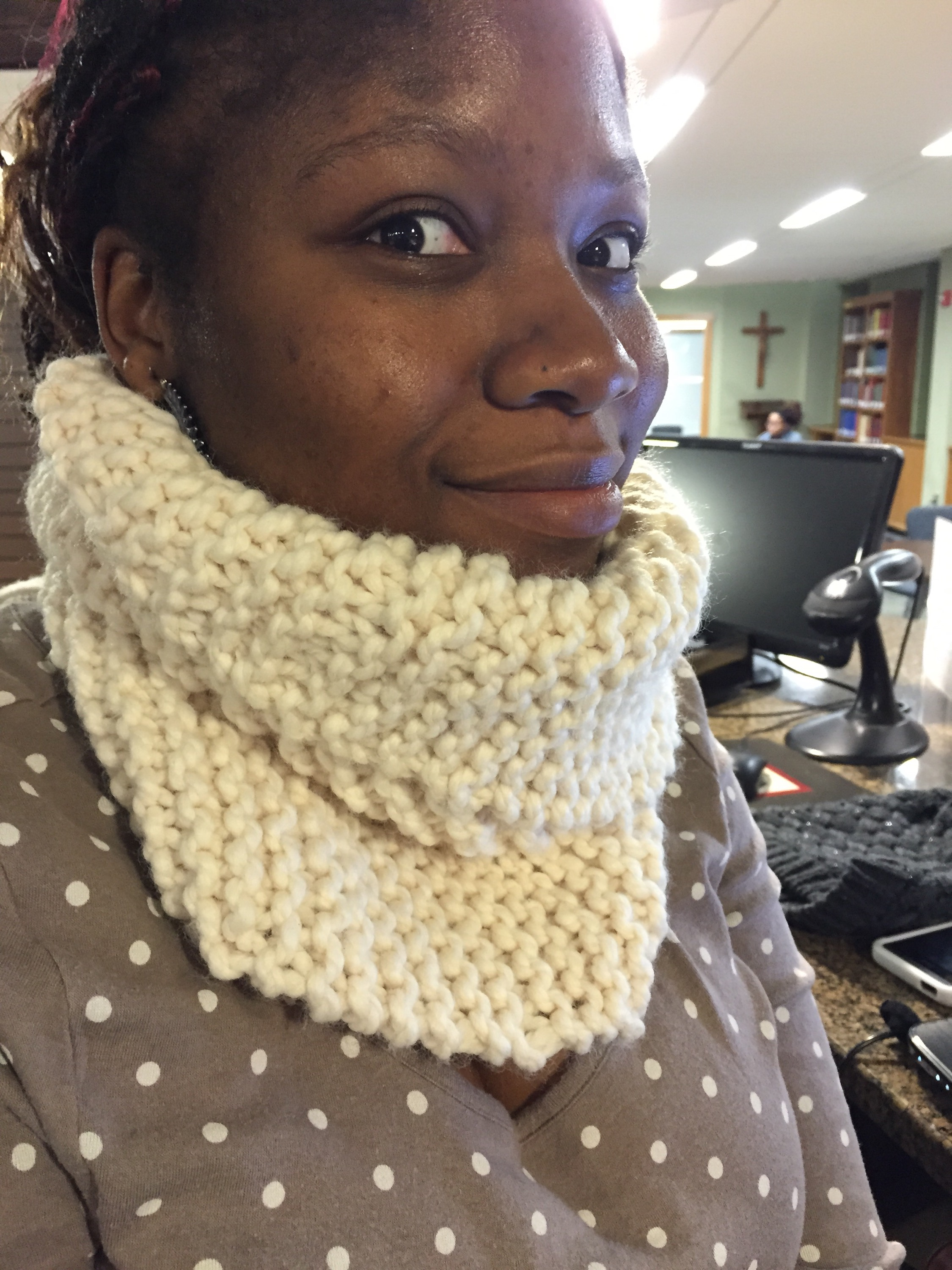 Rachee shares her thoughts on the Wham, Bam Thank You Lamb Neckwarmer created with Lion BrandThick and Quick yarn