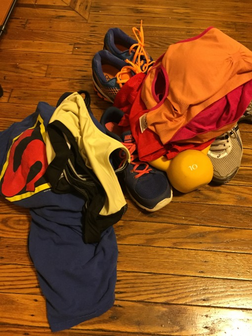 Some workout clothes and gear